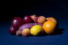 'Fruit op blauw'